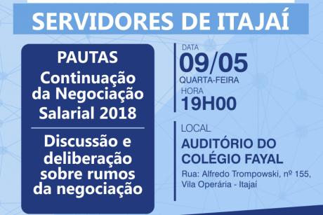Edital de convocação de Assembleia Geral para os servidores de Itajaí