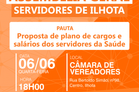 Sindifoz realiza Assembleia Geral com servidores da Saúde de Ilhota na quarta-feira