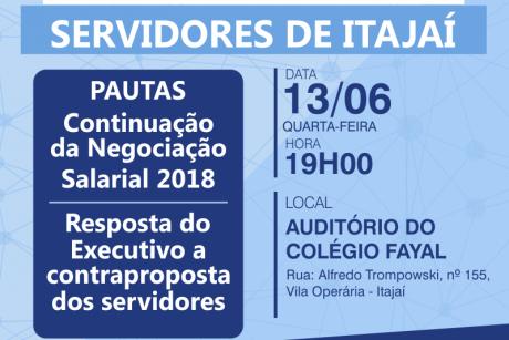 Assembleia Geral com servidores de Itajaí acontece quarta-feira. Confira a pauta de reivindicações da categoria
