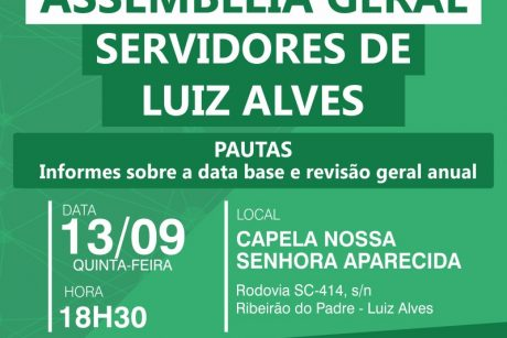 Sindifoz realizará Assembleia Geral em Luiz Alves