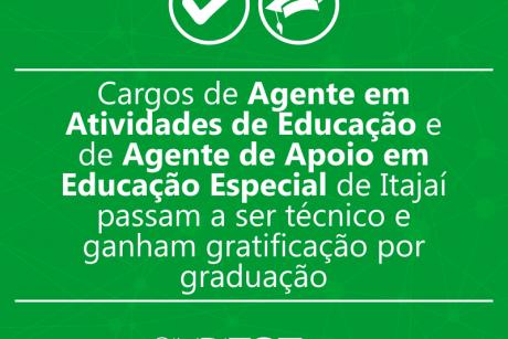 Cargos de Agente em Atividades de Educação e de Agente de Apoio em Educação Especial de Itajaí passam a ser técnico e ganham gratificação por graduação