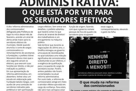 Sindifoz Informa | Reforma administrativa: o que está por vir para o servidor efetivo de Itajaí