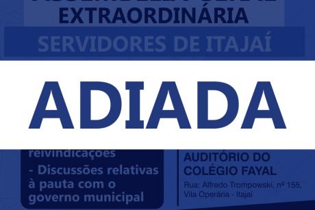 Assembleia geral com servidores de Itajaí é adiada