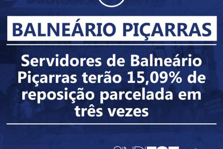 Servidores de Balneário Piçarras terão 15,09% de reposição parcelada em três vezes