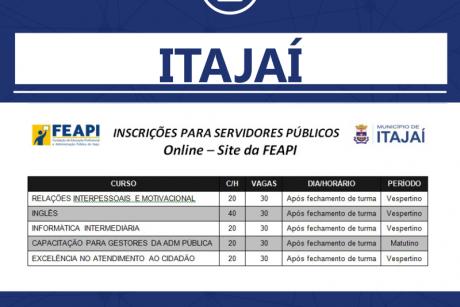 Inscrições abertas para cursos gratuitos da Feapi para a servidores de Itajaí