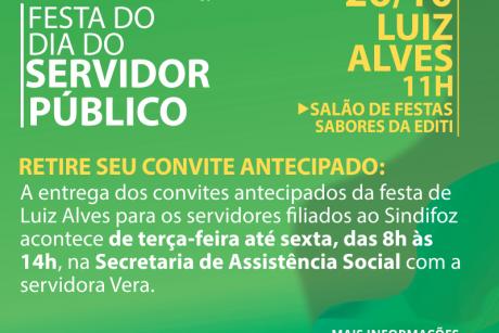 Festa do Servidor de Luiz Alves: retirada de convite antecipado até sexta-feira