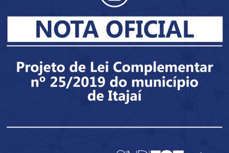 Nota oficial: Projeto de Lei Complementar nº 25/2019 de Itajaí