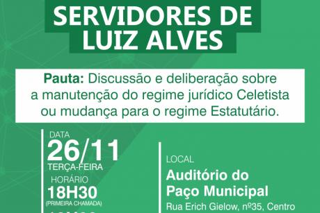 Luiz Alves: Assembleia Geral na terça-feira (26/11)