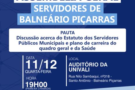 Assembleia Geral em Balneário Piçarras nessa quarta-feira
