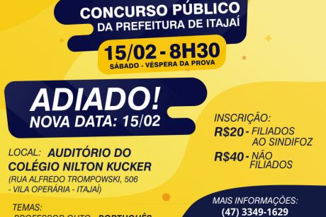 Aulão do Concurso Público de Itajaí é adiado para o dia 15/02