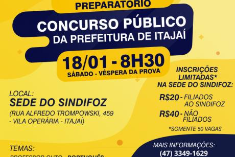 Sindifoz promove aulão para o concurso público da Prefeitura de Itajaí