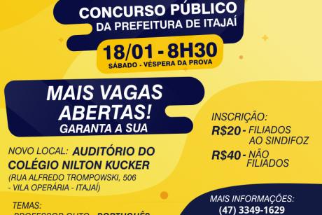 Mais vagas abertas para o aulão do concurso público de Itajaí