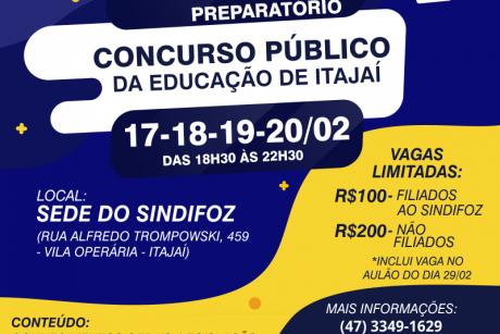 Vagas abertas para o curso intensivo e o aulão para o concurso da Educação de Itajaí