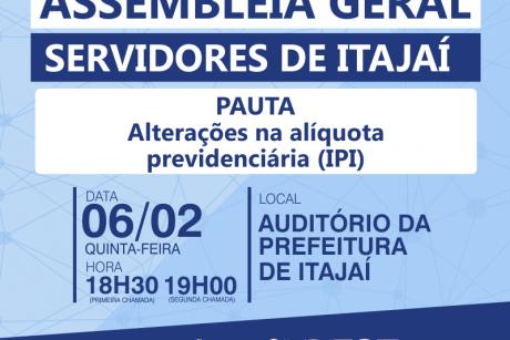 Assembleia Geral de Itajaí vai debater mudanças na alíquota previdenciária