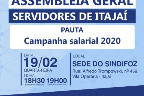 """Itajaí: Assembleia Geral da """"Campanha salarial 2020"""" acontece no dia 19"""