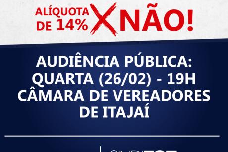 Alíquota previdenciária: Audiência pública será na quarta-feira, na Câmara de Vereadores de Itajaí