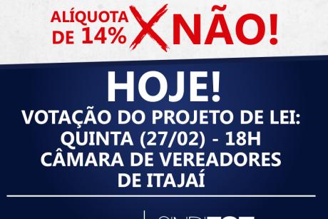 A luta continua: votação da alíquota de 14% acontece hoje na Câmara de Itajaí