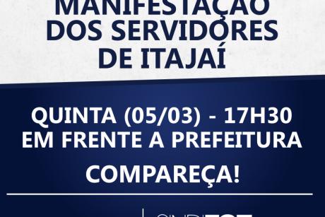 Servidores de Itajaí: manifestação em frente a Prefeitura nessa quinta-feira