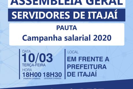 Assembleia Geral em Itajaí na próxima terça-feira (10/03)
