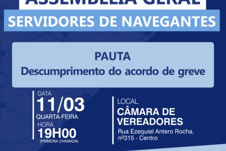 Assembleia Geral em Navegantes na próxima quarta-feira (11/03)