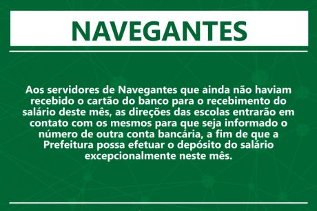 Navegantes: conta bancária para pagamento do salário