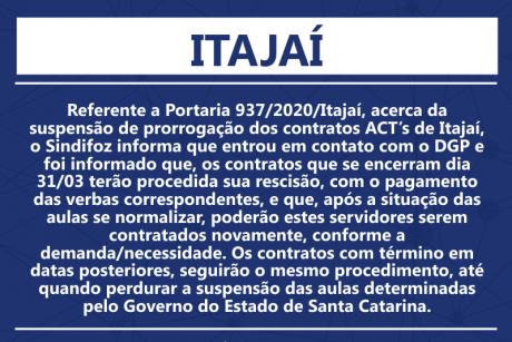 Portaria 937/2020 – contratos dos ACTs de Itajaí
