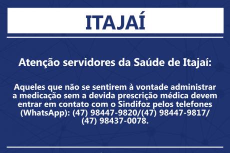 Atenção servidores da Saúde de Itajaí