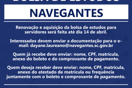 Bolsa de estudos para servidores de Navegantes