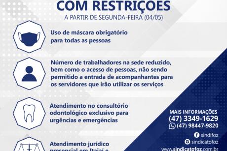 Retomada do atendimento na sede do Sindifoz com restrições