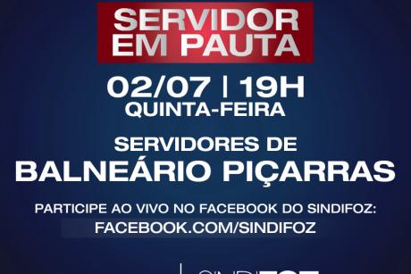 Balneário Piçarras: live Servidor em Pauta nessa quinta-feira (02/07)