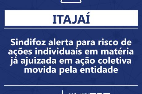 Sindifoz alerta para risco de ações individuais em matéria já ajuizada em ação coletiva movida pela entidade