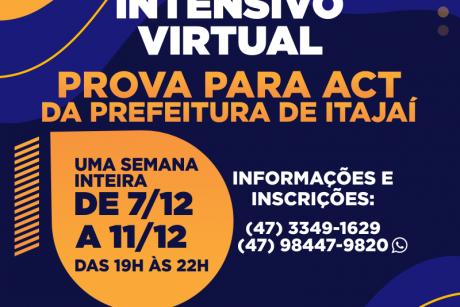 Curso intensivo virtual para a prova para ACT da Prefeitura de Itajaí