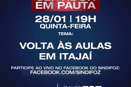 """Servidor em Pauta: Live com o tema """"Volta às aulas em Itajaí"""""""