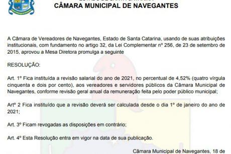 Vereadores de Navegantes não votam reajuste salarial dos servidores, mas aprovam reajuste nos seus salários