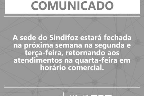 Comunicado – Sede fechada na segunda e terça-feira