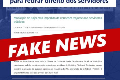 Prefeitura de Itajaí lança FAKE NEWS para retirar direito dos servidores