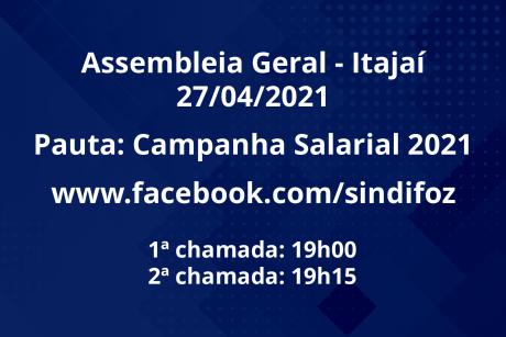 Assembleia Geral de Itajaí nesta terça-feira