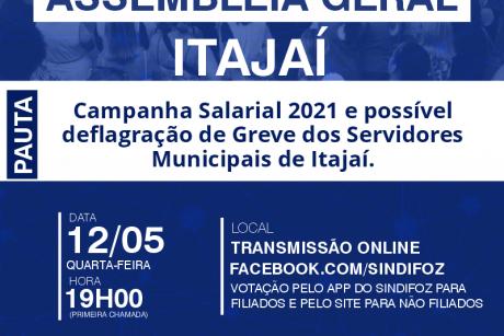 Assembleia Geral de Itajaí nesta quarta-feira sobre a possibilidade de GREVE