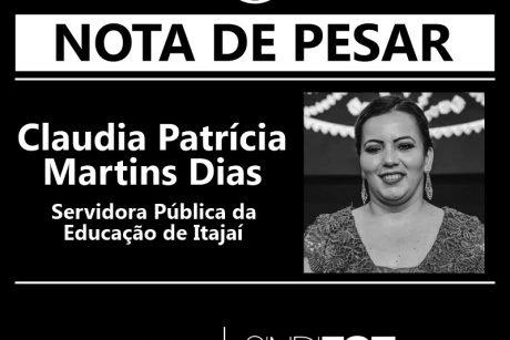 Nota de Pesar: Claudia Patrícia Martins Dias, servidora da Educação de Itajaí