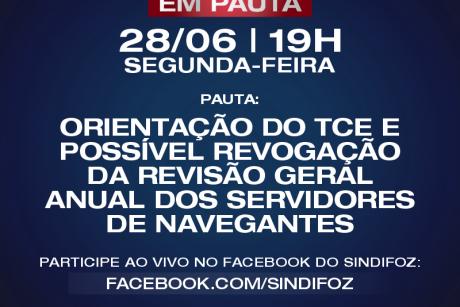 Sindifoz realiza live Servidor em Pauta na segunda-feira