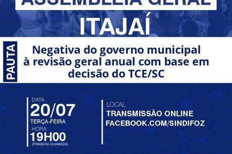 Assembleia Geral com servidores de Itajaí na terça-feira