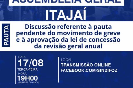 Assembleia Geral com servidores de Itajaí nesta terça-feira