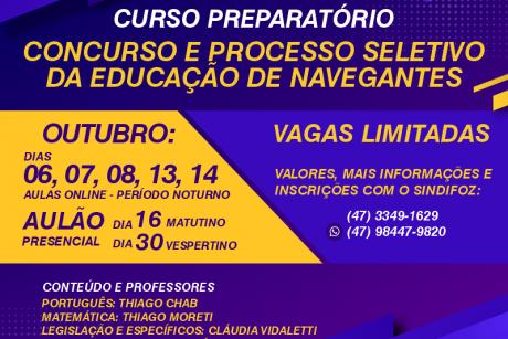 Inscrições abertas: curso preparatório para o Concurso e Processo Seletivo da Educação de Navegantes