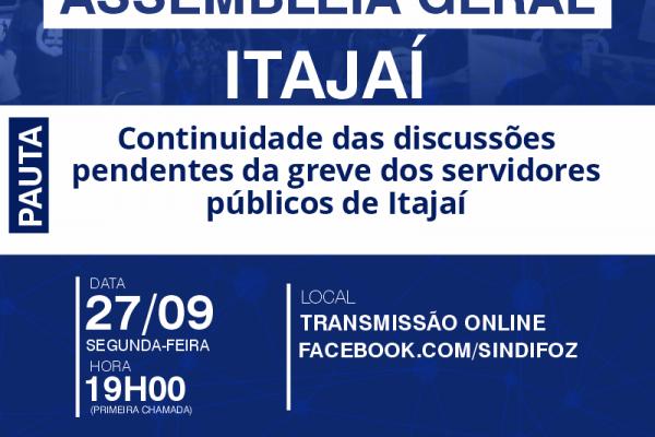 Assembleia Geral com servidores de Itajaí na próxima segunda-feira