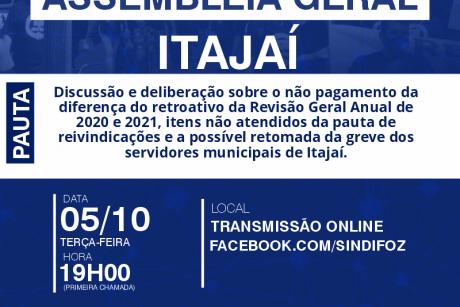 É HOJE: Assembleia Geral com servidores de Itajaí