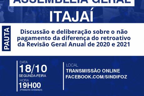 Assembleia Geral com servidores de Itajaí na segunda-feira